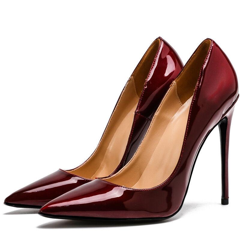 Sexy Pumps Damen Europa Stilettoabsatz Schuhe OL High Heels Spitz Zehe Gr:33-45