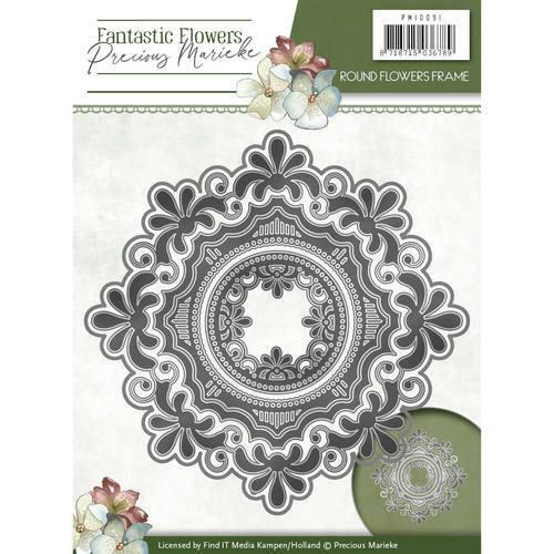 Precious Marieke Stanzschablone Blumen Rahmen Rund Fantastic Flowers