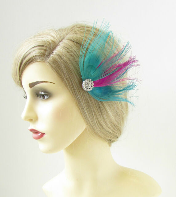 e4f8637e64e Buy Turquoise Blue Hot Pink Peacock Feather Fascinator Hair Clip Silver  1920s 207 online