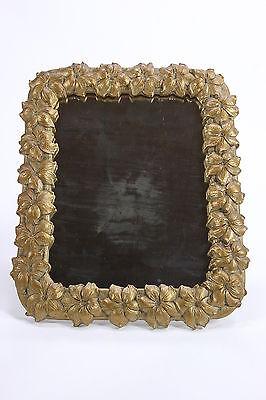 Easel Style Gilt Woof Framed Mirror Flower Embellished Hollywood Regency