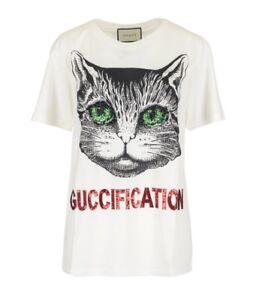 Gucci Mystic Gato embelezado guccification Camiseta Médio. Novo com ... b60c5bd7d1e40