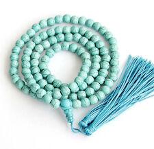 8mm 108 Howlite Turquoise Bracelet Tibet Buddhist Prayer Beads Mala Necklace