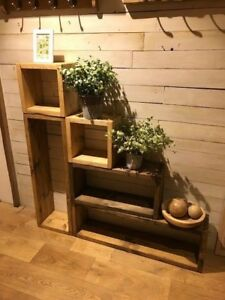Pine-Solid-wood-Rustic-Shelving-Cubes-Chunky-Units-Standing-Reclaimed-Timber
