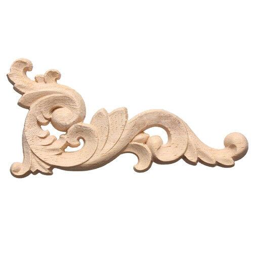 1X(Wood Carved Decal Corner Onlay Applique Door Wall Decor 12*6cm Unpainte C7U4)