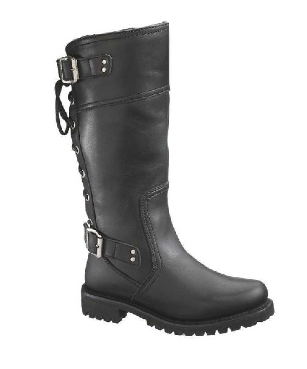 Harley-Davidson Women's Alexa Back Lace Black Leather Motorcycle Boots D85167