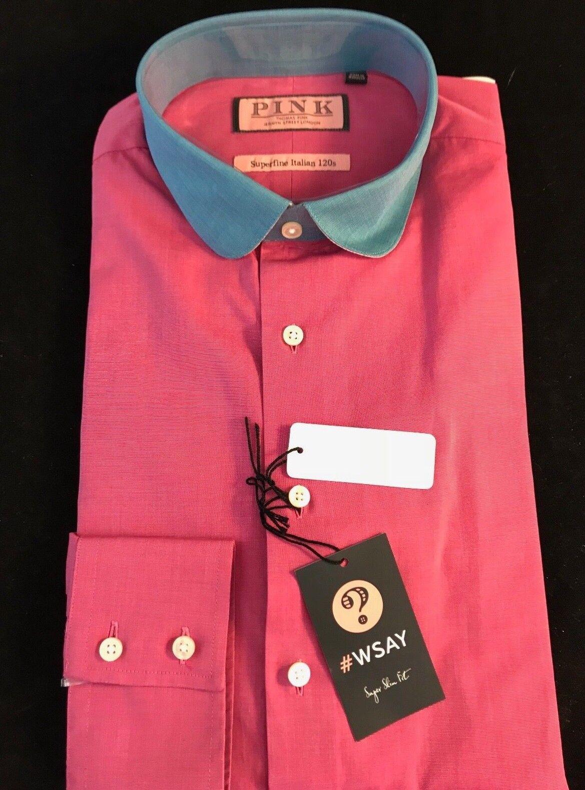 BNWT Thomas rosa Gents SF SUPER Eldon Plain LS Super Slim Fit Colletto Camicia 15.5