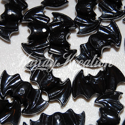 10 Bat shaped black pony beads for Halloween Kid Craft Kandi Rave Raver Gothic