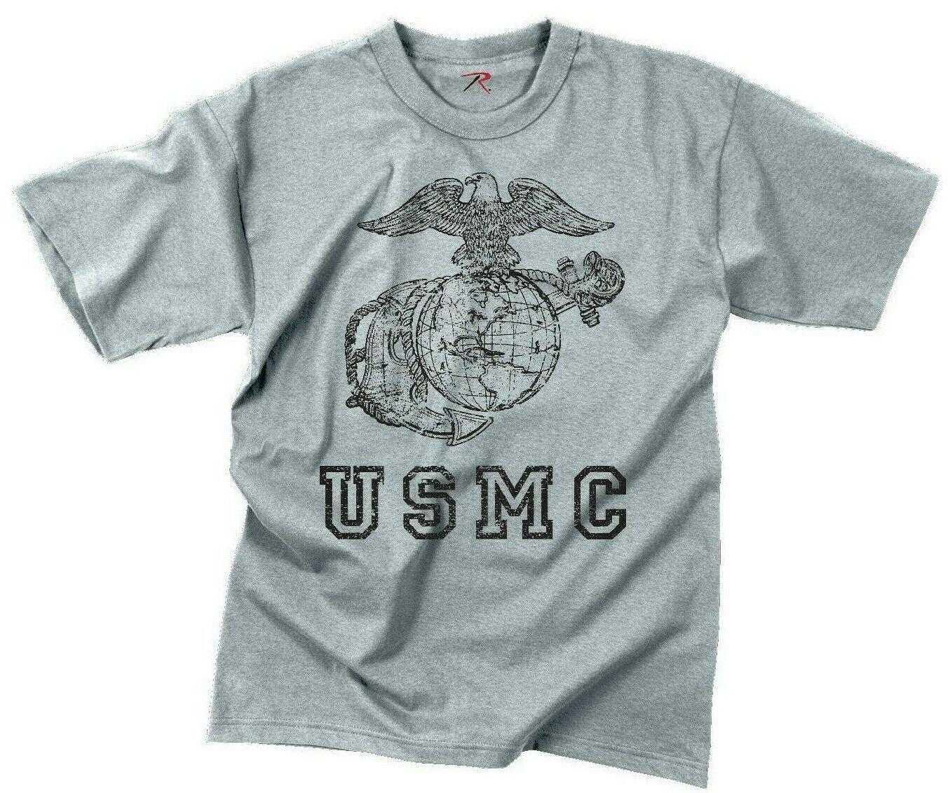 Grey USMC Eagle Globe Anchor T-shirt Marines Marine Corps Tee shirt redhco 61343