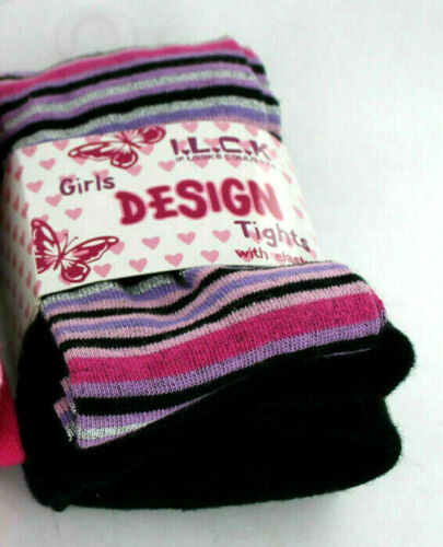 46B187 If Looks Coul Kill Girls Striped Tights Black 7-8 years