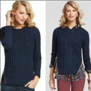 Cabi-Navy-Blue-Womens-Size-M-Long-Sleeve-Side-Zip-Crew-Neck-Knitted-Sweater-899