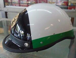Neu!! casco elmetto municipal motorcycle helmet white black green