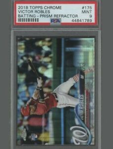 2018 Topps Chrome Prism Refractor Victor Robles Batting RC Rookie PSA 9 MINT