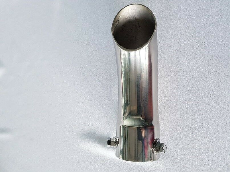 Any Size Bolt on Curved Curl Down Exhaust Tail Pipe Trim Stainless Steel Tip