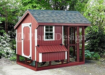 Chicken Coop with Run, 4 x 8 Saltbox Roof Style Plans,  Design 70408RS