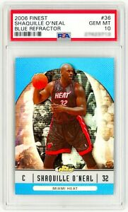 2006-Topps-Finest-Blue-Refractor-36-SHAQUILLE-O-039-NEAL-PSA-10