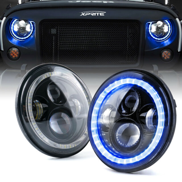 7 90w Led Projector Headlights With Blue Halo For 97 18 Jeep Wrangler Tj Jk