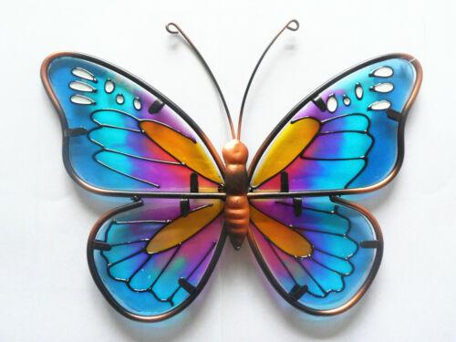 Glass Colorful Butterfly Fence Wall Art Yard Garden Decor Wall Sculptire Metal