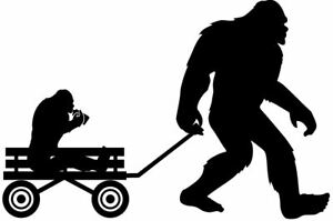Bigfoot Sasquatch Pulling Wagon w/ Baby Yeti  Decal Sticker Car Truck 6x4 Yeti