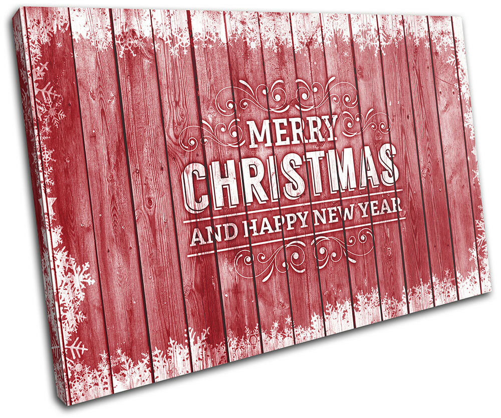 Christmas Decoration Wall Canvas ART Print XMAS Picture Gift Wood 14 rot Christm