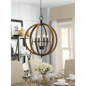 hanging chandelier industrial style light fixture orb wood dining room