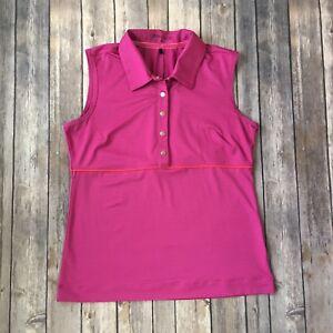 Nike-Shirt-Womens-S-4-6-Golf-Polo-Dri-Fit-Sport-Athletic-Sleeveless-Pink-Orange