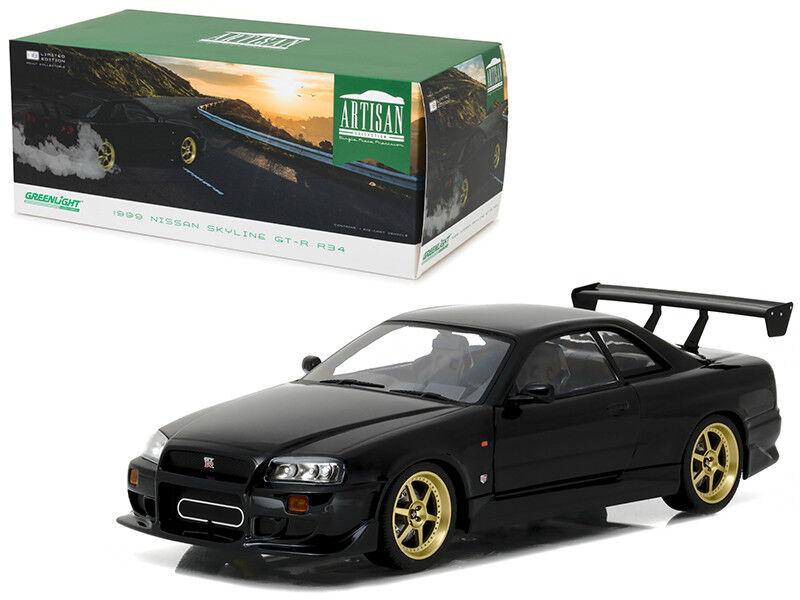 entrega rápida 1 18 verdelight 1999 1999 1999 Nissan Skyline GT-R R34 Diecast Modelo Coche Negro 19030  vendiendo bien en todo el mundo