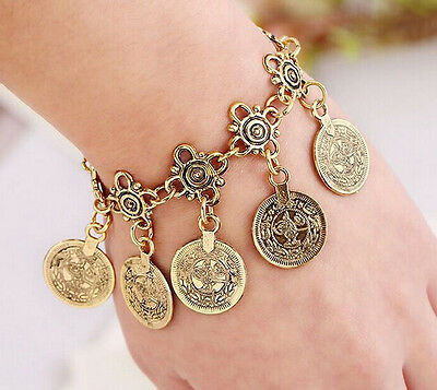 Vintage Antique Silver / Gold Coin Bohemian Moon Lovers Gypsy Bracelet / Anklet