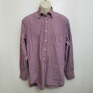 Peter Millar Mens Button Up Shirt Large Red Blue Striped Long Sleeve