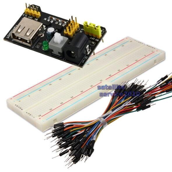 Piastra Breadboard 830 Contatti + MB102 Alimentazione Modulo + 75 Jumper Cavi