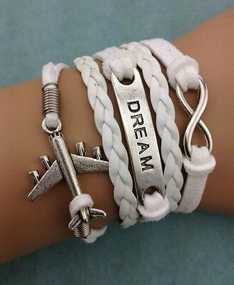 NEW White Dream Infinity Aircraft Leather Charm Bracelet plated Silver DIY !!!!