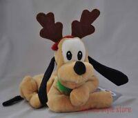 Pluto Xmas Reindeer Mouseketoys Disney Plush Bean Bag Stuffed Dog Christmas