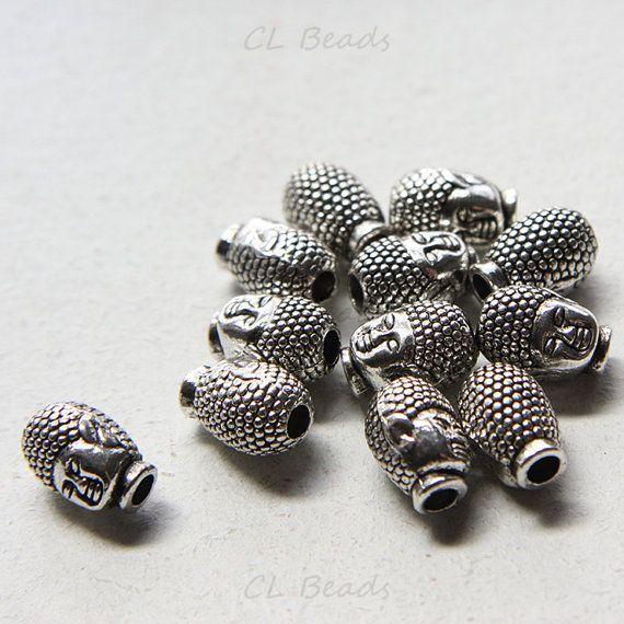 12pcs Oxidized Silver Tone Base Metal Spacer - Buddha 13x9mm (14587Y-E-307)