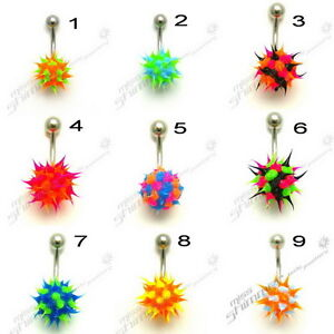 KOOSH-BELLY-BAR-SPIKEY-SILICONE-SURGICAL-STEEL-NAVEL-BAR-CLEARANCE