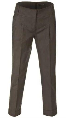 trendy 7//8 lange LAURA SCOTT Bundfalten Stretch Hose schwarz grau gestreift NEU
