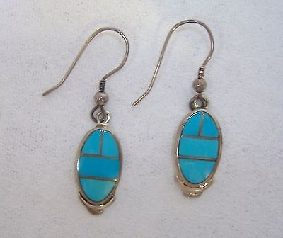 Oval Arizona Blue Turquoise Earrings Sterling Silver Handmade Inlay Pierced Gift