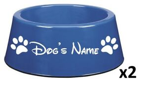 TWO-Personalised-Dog-Pet-Puppy-Dish-Vinyl-Stickers-Disney-Font-BOWL-NOT-INCL