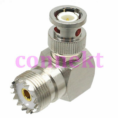 1pce UHF SO-239 SO239 female to BNC male right angle 90° RF adapter connector