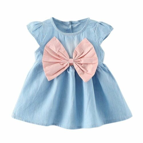 2018 Newborn Baby Kids Girls Princess Bowknot Demin Dress Party Pageant Dress WG