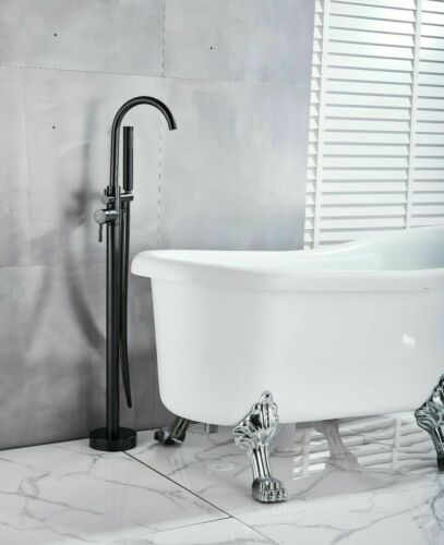 Modern Floor Mounted Freestanding Bathtub Faucet Tub Filler Tap with Hand Shower