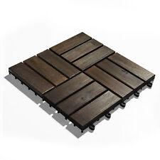 Akazienholz Terrassenfliesen im 10er-Set 30x30 cm Stecksystem schwarzbraun