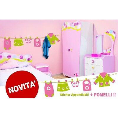 00195 Wall Stickers 150x36 Cm Cameretta Bimba Appendiabiti Panni