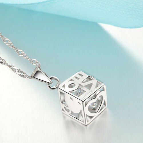 Details about  /REAL SOLID SILVER 925  Classic Sterling Silver Necklace /& Pendant Love Box-051