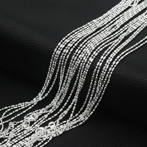 """Wholesale Lots 925 Sterling Silver 1.4mm Bar /& Bead Link Chain Necklace 16/""""-30/"""""""