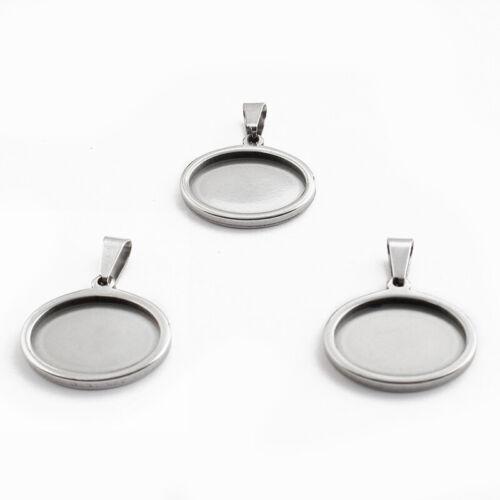 5Pcs Stainless Steel 13*18mm Oval Pendant Trays Blanks Bezel Cameo Settings Base