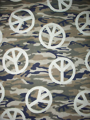 CAMO CAMOUFLAGE PEACE SYMBOLS GREEN BROWN COTTON FABRIC FQ OOP