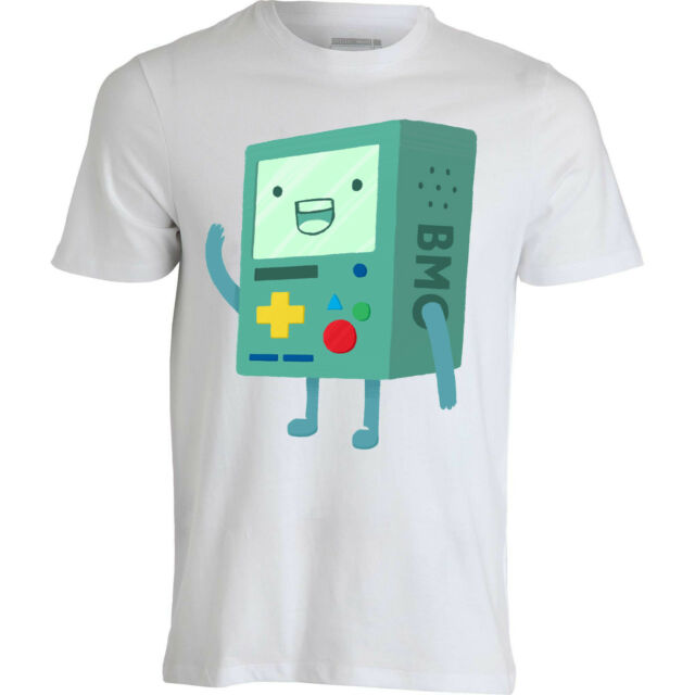 Adventure Time BMO says hello cartoon painted the artwork men top white T shirt