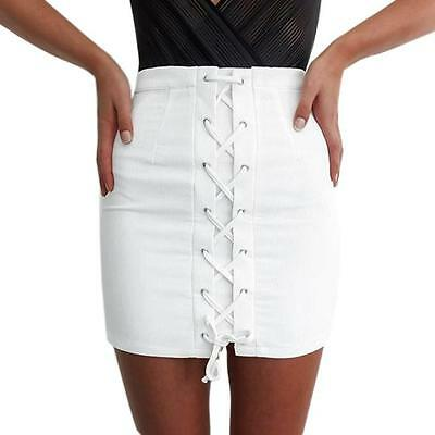 Sexy Vintage High Waist Slim Bandage Lace up Stretch Mini Women's Skirt White