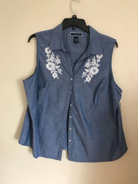 6419ef6dc21 New Karen Scott Woman s Sleeveless Embroidered Chambray Button Down Shirt  2X J2