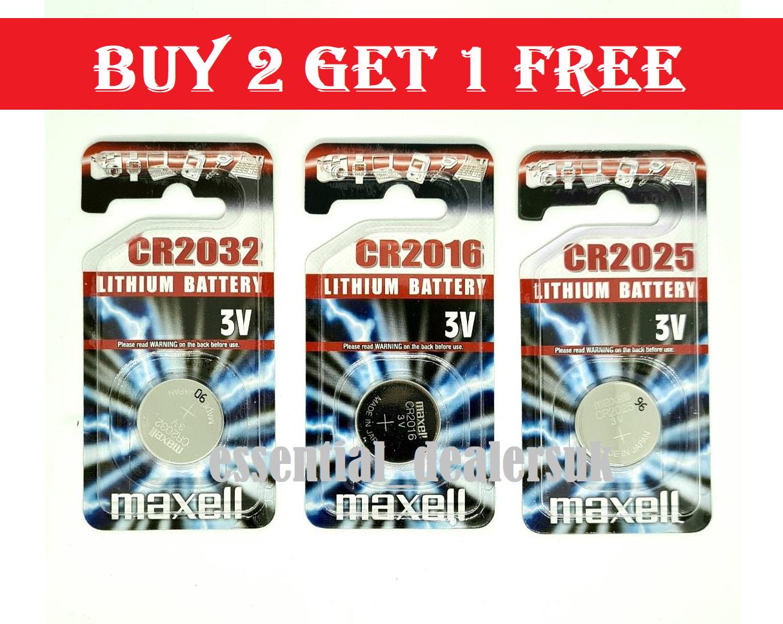 MAXELL CR2032 CR2025 CR2016 Battery 3V Lithium Coin Cell Toys Car Keys Remote