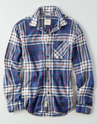 American Eagle Mens Classic-Fit Plaid Blue Lightweight Cotton NWT $40